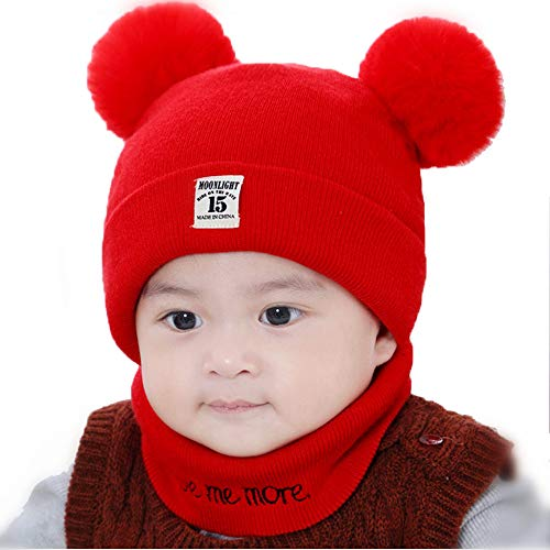 1 Set Baby Unisex Winter Knit Soft Comfy Hat with Scarf for Kid Infant Beanies ()