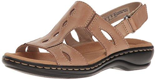 Clarks Women's Leisa Lakelyn Flat Sandal - Sand Leather -...