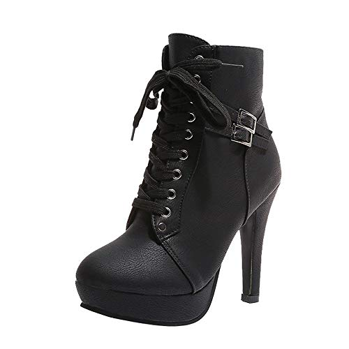 Vintage Stiefel Damen Mode, Sonnena Casual Lederstiefel Rund Toe High Heels High Heels Schnürer Stiefeletten Stiefeletten Elegant Party Elegant Plateau Martin Stiefel Schwarz