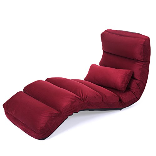 Lazymoon Folding Lazy Sofa Chair Couch Stylish Bed Lounge W  Pillow Burgundy Comfy Home