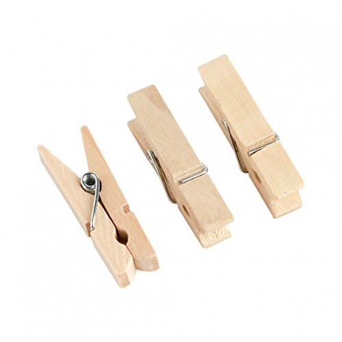 CAN_Deal 100 Mini Natural Wooden Craft Pegs Clothes Paper Photo Hanging Spring Clips 25mm