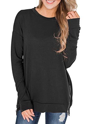 Asvivid Womens Crewneck Long Sleeve Zip Tunic Sweatshirt Cotton Lightweight Cozy Ladies Pullover Tops S - Side Zip Blouse