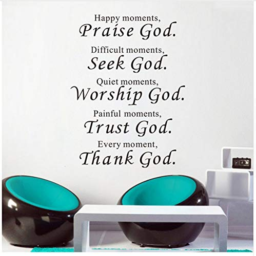 - Ayzr Wall Stickers Home Decor Praise Seek Worship Trust Thank God Quotes Christian Bless Proverbs PVC Decals Living Room Mural