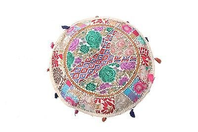 GANESHAM Indian Home Decor Hippie Patchwork Bean Bag Chair Cover Boho Bohemian Hand Embroidered Ethnic Handmade Pouf Ottoman Vintage Cotton Floor Pillow & Cushion 13'' H x 18'' Diam.