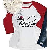 Christmas Believe T-Shirt Women 3/4 Sleeve Graphic Christmas Raglan Baseball Shirts Tee Tops Plus Size