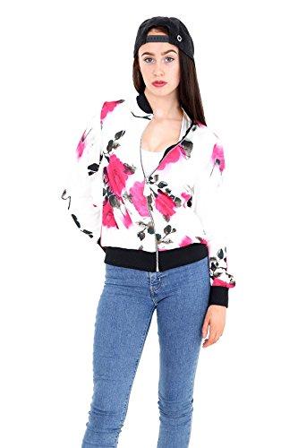 Janisramone mujeres cultivo impresión floral vintage biker bombardero chaqueta parte superior Floral 9
