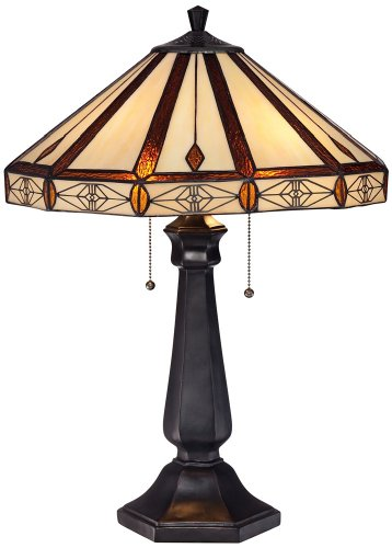 Octagon Mission Art Glass Bronze Table (Octagonal Lamp Table)