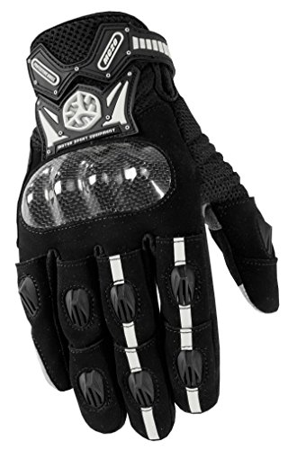 CRAZY AL'S MC20 Full Finger Professional Motorcycle Gloves with Carbon Fiber Shell Protection with Touch Screen Device Sportswear Cycling Outdoor Sports Gloves for SCOYCO Black/Grey M/L/XL/XXL (XL)