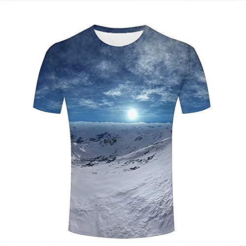 (LIYOUYUAN Men's 3D Printed Summer Couple Tees Natural Scenery/Snow Scene Short Sleeve Casual T-Shirts XL)