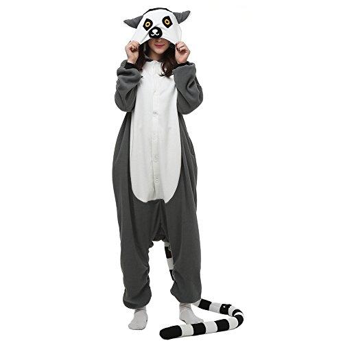 Monkey Lemur Animal - Adult Animal Lemur Onesie Pajamas, Unisex Cosplay Costume for Xmas, Small