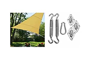 Blue Dot Trading Triangle Waterproof Shade Sail and Installation Kit, 12'x 12'x 12', Beige