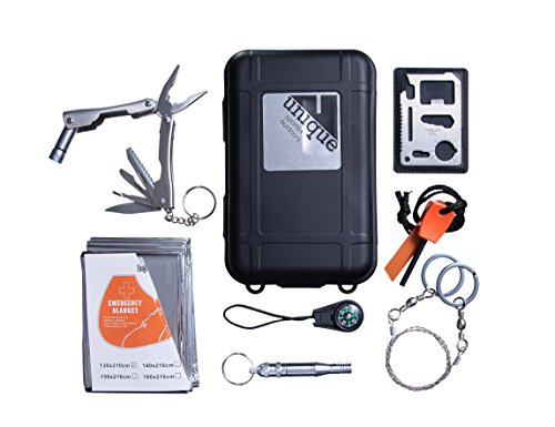 Emergency Outdoor Survival Gear Kit - for Hiking, Camping, Travel, and Emergency Preparedness, 7-in-1 EDC Bug Out Bag Includes Emergency Blanket, Firestarter, Compass and Whistle (Kit Travel Faves)