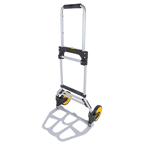 Portable Folding Aluminum Hand Truck Luggage Carts Dolly Trolley for Indoor Outdoor Travel Shopping Office, 260lb Capacity (Black/Yellow) by SW