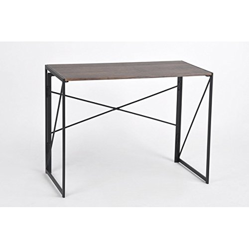 Vintage Dark Brown / Black Metal Frame Computer Laptop Writing Study Desk Modern Home Office with Easy Fold