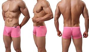 YKC Mens Silk Underwear Trunks Seamless Sexy Transparent Boxer Briefs Short Leg