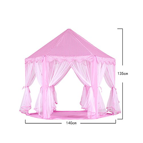 Tenozek Princess Castle Play House Large Outdoor Kids Play Tent for Girls Pink by Tenozek (Image #5)