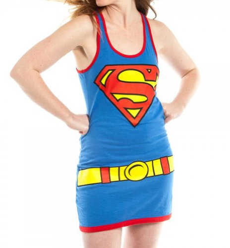 - 4165uxGpeFL - DC Comics Supergirl Juniors Blue Tank Top Dress