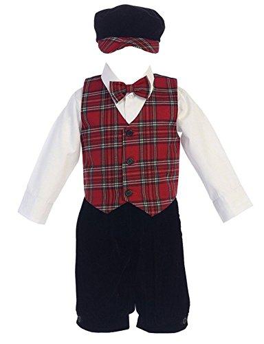 iGirldress Little Boys Red Green Black Plaid Christmas Vest Pants/Knicker Set Infant to Boys 4T Red-C564