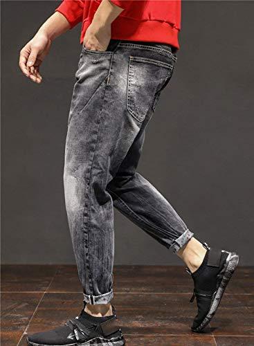 Retro Qk Pantaloni Bermuda Stretch Slim Jogg Denim Lunghi Nero lannister Ragazzo Uomo Regular Jeans Look Used 1xwqzr1
