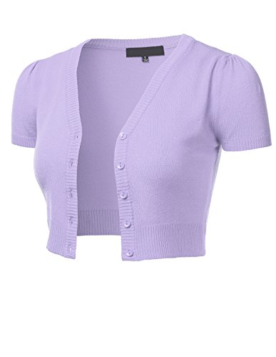 (FLORIA Womens Button Down Short Sleeve Cropped Bolero Cardigan Sweater Lilac S)