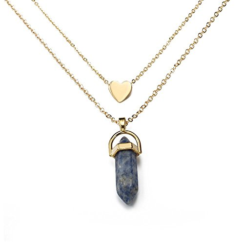 Dwcly Gold Plated Hexagonal Natural Quartz Stone Pendant Healing Crystal Chakra Necklace with Love Heart Charms for Women (1) ()