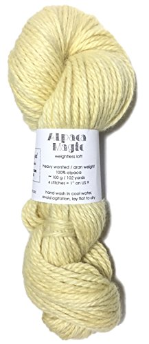 (Hand Dyed Baby Alpaca Yarn, Kettle Dyed: Buttercream, Heavy Worsted Weight, 100 Grams, 102 Yards, 100% Baby Alpaca)