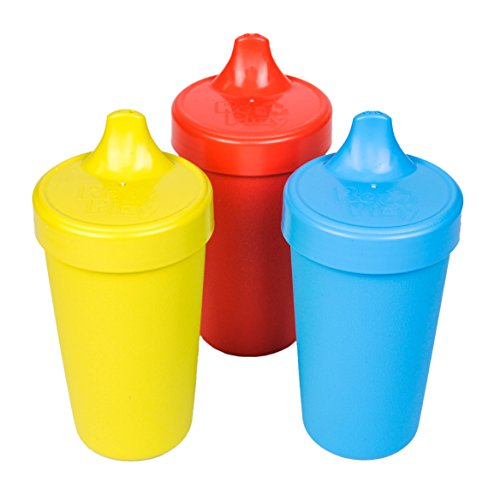 Re-Play Made in USA 3pk Toddler Feeding No Spill Sippy Cups | 1 Piece Silicone Easy Clean Valve | Eco Friendly Heavyweight Recycled Milk Jugs are Virtually Indestructible | Yellow, Red, Sky Blue