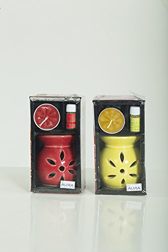 AuraDecor Gift Set of 2 Burner with 2 Tealights & 3ml Aroma Oil SBkrafts
