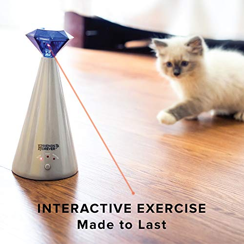 Friends Forever Interactive Laser Cat Toy - Automatic Rotating Laser Pointer for Cool Cats, Electronic Toys for Stimulating Exercise, Battery Powered Auto Lazer, 3 Speed Mode 5