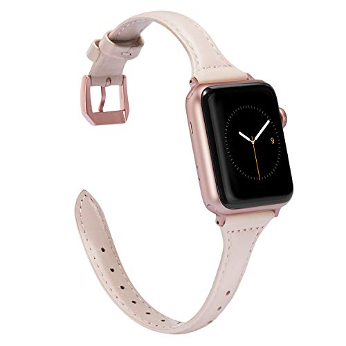m Pink Leather Compatible for Apple Watch Band 38mm 40mm for iWatch Sports Thin Strap Replacement Wristband Cool Cute Bracelet with Rose Gold Metal Buckle Series 4 3 2 1 Edition ()
