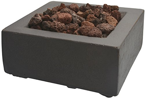 Bond Tabletop Umbrella Hole Mounted Gas Firebowl with Lava Rock, Square
