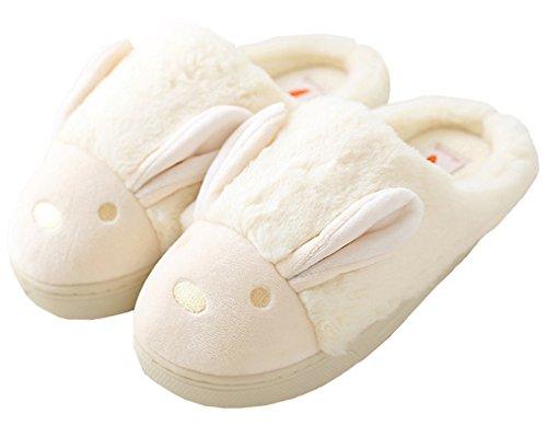 Blubi Women's Plush Closed Toe Bunny Slippers Waterproof Sole Fuzzy Slippers Bedroom Slippers (4, Cream)