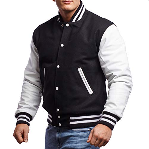 Varsity Base Letterman Jacket (10 Options) - Melton Wool Body & Premium Leather Sleeves - S to 2XL (Black Wool, White Leather, X-Large)