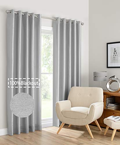 BERYHOME Montana Faux Silk Double-Layer Lined 100% Blackout Grommet Window Curtains for Living Room and Bedroom, Set of 2 Panels. Size: Width 52''x Length 90'' inches. Color: Silver(W52xL90, Silver)
