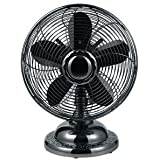 Table Fan, Oscillating Black Metal Fan with 12 inch Blades and 3 Whisper Quiet Speeds