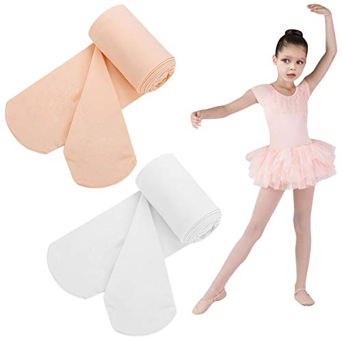 Ballet Dance Tight Footed, Girls Velvet Sheer Tights, Stocking Pantyhose for Children (White/Ballet Pink(Footed), M(Age 5-8))
