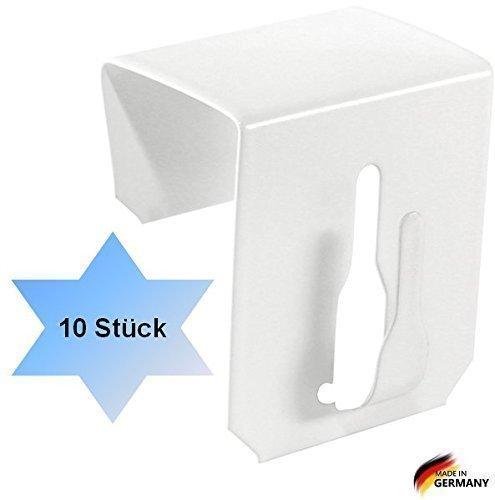 Dekohaken24 Lot de 10crochets pour fenêtre à clipser Blanc 17-20mm DEKOSW101720