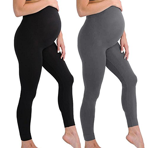 Touch Me Maternity Leggings Black Navy Grey Soft Solid Stretch Seamless Tights One Size Fits All Active Wear Yoga Gym Clothes (Maternity - One Size Fits All, 2 Pack Black Grey Leggings)