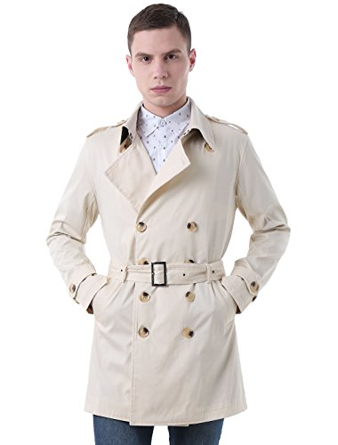 uxcell Men Button-tab Epaulets Double Breasted Belted Trench Coat Off White M ()