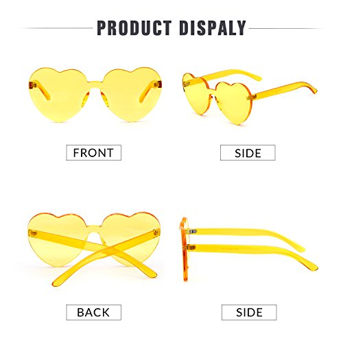 Love Heart Shape Sunglasses Women Rimless Frame Colorful SunGlasses by ADEWU (Image #3)