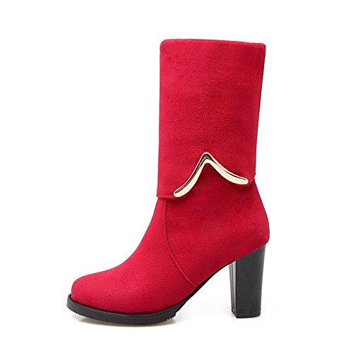 Allhqfashion Para Mujer De Imitación De Gamuza Sólida Tacones Altos Tirar De Las Botas De Punta Redonda Cerrada Rojo
