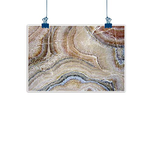Decorative Art Print Marble,Surreal Onyx Stone Surface Pattern with Nature Details Artistic Picture,Cinnamon Grey Tan Beige for Boys Room Baby Nursery Wall Decor Kids Room Boys Gift ()