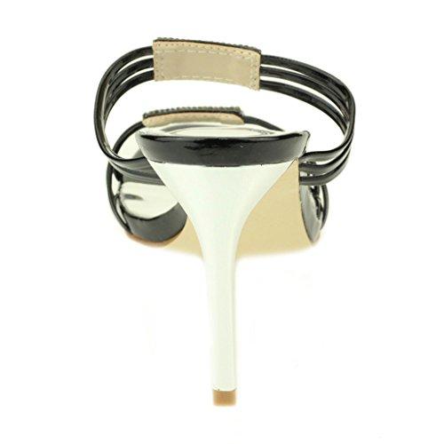 Mujer Señoras noche Boda Party tacón alto Open Toe Diamante Nupcial Sandalia Zapatos Tamaño (Luz de Oro, Plata, Negro) Negro
