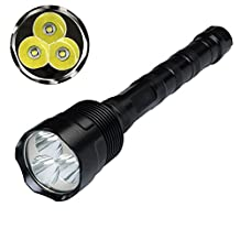 Aidisun 6000 Lumens XM-L T6 3 LED Tactical Flashlight Rechargeable Super Bright Handheld Flash Light Waterproof Torch Outdoor Include 3 Batteries and Charger for Camping Hunting Fishing Riding Sport