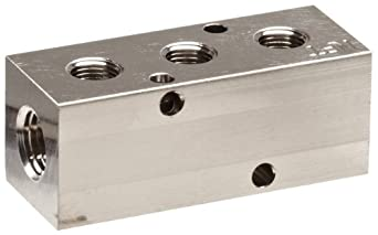 "Polyconn PCM10-125-03NP Nickel Plated Aluminum Manifold, 1/4"" NPT Female x 1/8"" NPT Female, 3 Stations"