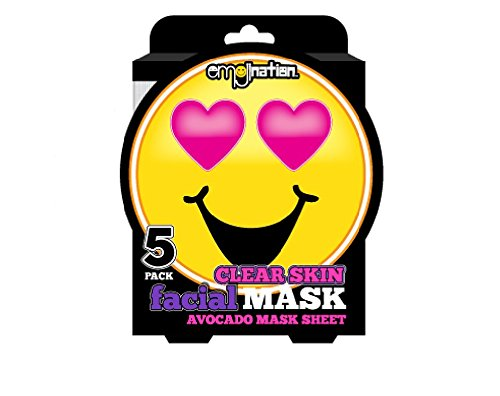 Emoji 5 Pack Clear Skin Facial Masks - Avocado Infused Mask Sheets - Smiling Emoji Face With Heart Shaped - Shaped Heart Face