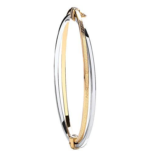 9ct 2Couleur or blanc et jaune deux rangées Bracelet 6.0G