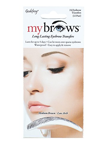 Godefroy MyBrows Long Lasting Eyebrow Transfers, Low Arch, Medium Brown, 12-Pairs of Brows