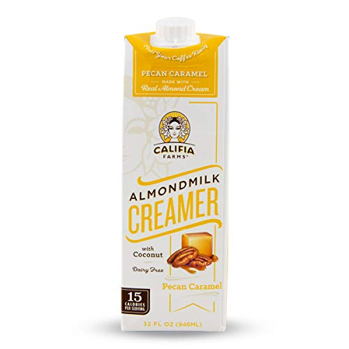 Califia Farms Almondmilk Coffee Creamer with Coconut Cream, Dairy Free, Plant Milk, Vegan, Non-GMO, Pecan Caramel, 32 Oz (Pack of 6)