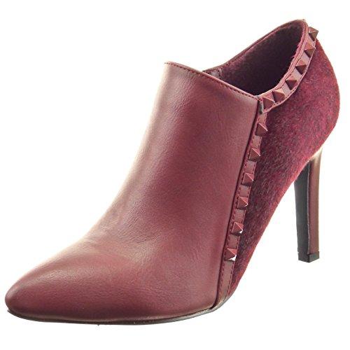 Sopily - Scarpe da Moda Stivaletti - Scarponcini low boots alla caviglia donna pelliccia borchiati Tacco Stiletto tacco alto 9.5 CM - Rosso